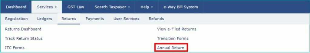 Option to file annual return in now live